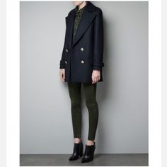 Zara Navy Blue Short Military Coat w/ Gold Buttons Selling my beloved Zara short military coat! I have worn this coat about 7-8 times and got a compliment every single time . It is absolutely elegant and warm! Very stylish with the gold buttons, surely to capture people's attention. Looks well dressed up or down with simple jeans and a pair of converse. Just need to get rid of some things to help pay for my college expenses. Open to reasonable offers! Any questions please do ask me :). Thank…