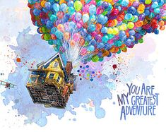 """Flying Home """"You are my greatest adventure"""" Up the Movie Watercolor Nursery Poster Room Decor Wall Decor Movie Poster New House Gifts, House Gifts, New Home Gifts, Art Watercolor, Watercolor Illustration, Disney Kunst, Disney Art, Art Wall Kids, Wall Art Decor, Room Decor"""