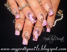 Tropical Ombre Zebra and Flower French Tips Nail Art Design and Video Tutorial
