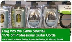 During the month of April, you can save on guitar cords at Supersonic Music!