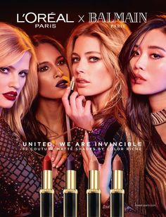 L'Oreal Paris & Balmain Up the Chic Faktor mit neuem Lippenstift Collab - langeshaar Ysl Beauty, Beauty Makeup, Makeup Advertisement, Balmain Collection, Beauty Companies, Perfume, Models Makeup, Lipstick Queen, L'oréal Paris