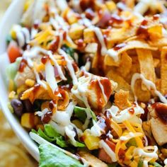 Made this 9.21.14 - had so much leftover chicken from a party so made this fabulous salad. Made the Pioneer Woman ranch and used Doritos. So tasty! Loved it!! BBQ Chicken Salad