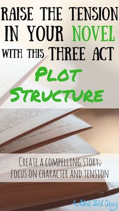 Here is a three-act character and tension based plot structure for your novel. Raise the stakes as you write and keep your readers turning the pages! #writing #writingtips #novelwriting #plot #awelltoldstory