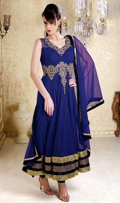 Marvelous Royal Blue Net Anarkali Suit Price: Usa Dollar $286, British UK Pound £167, Euro210, Canada CA$304 , Indian Rs15444.