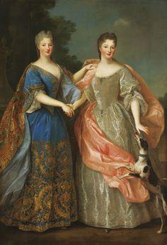 Atelier de Pierre Gobert | Portrait présumé de mademoiselle de Blois et mademoiselle de Nantes avec un chien