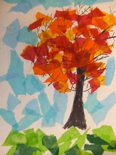 PoppyCat News: Tissue Paper Collage ~ Fall Trees ~ Grade PoppyCat. - : PoppyCat News: Tissue Paper Collage ~ Fall Trees ~ Grade PoppyCat. Fall Arts And Crafts, Fall Crafts For Kids, Art For Kids, Autumn Art Ideas For Kids, Paper Art Projects, Fall Art Projects, First Grade Art, 4th Grade Art, Tree Collage