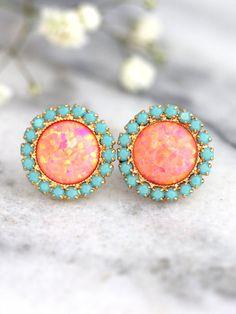 Opal earrings, Coral Mint earrings, Opal Stud Earrings, Tangerine bridesmaids Earrings, Gift For Her Diy Opal Earrings, Orange Earrings, Emerald Earrings, Opal Jewelry, Bridal Jewelry, Fine Jewelry, Jewelry Box, Stylish Jewelry, Gold Jewelry