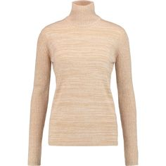 See by Chloé Metallic knitted turtleneck sweater (3 320 UAH) ❤ liked on Polyvore featuring tops, sweaters, beige, turtle neck top, turtleneck sweater, see by chloe top, slimming tops and metallic top