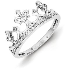 Sterling Silver Rhodium Plated Diamond Crown Ring ($137) ❤ liked on Polyvore featuring jewelry, rings, sterling silver, diamond rings, sterling silver crown, diamond jewellery, crown jewelry and sterling silver jewellery