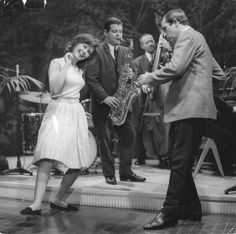 Janette Scott and Ian Hendry dance to Tubby Hayes on the set of the film 'The Beauty Jungle', 1964.