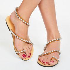Toe Ring Slip-On Plain Rhinestone Flat Heel Women's Sandals