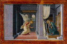 The Annunciation, ca. 1485 Botticelli This jewel-like representation of the Annunciation is set in an architectural interior constructed according to a rigorous system of one-point perspective. One of the most celebrated masterpieces in the Robert Lehman Collection, The Annunciation was given by Lehman to his father Philip as a birthday gift, and was a favorite of both men.
