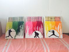 Melted Crayon Art with softball Silhouettes