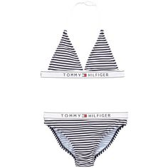 Tommy Hilfiger Stripe Logo Elast Triangle Bikini ($40) ❤ liked on Polyvore featuring swimwear, bikinis, tommy hilfiger, bikini swim wear, bikini swimwear, striped bikini and tommy hilfiger swimwear