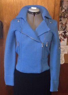 One Girl Who Blue Motorcyle Moto Sweater Jacket Small Zippers Wool Blend | eBay