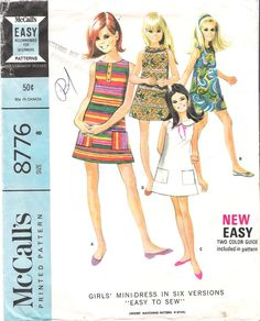Vintage 1960s Girls Easy to Sew Sleeveless Dress, McCall's Sewing Pattern #8776
