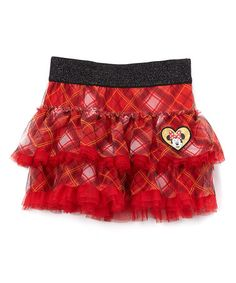 This Red Plaid Minnie Two-Tier Skirt - Girls is perfect! #zulilyfinds