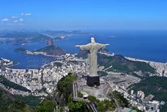 Christ the Redeemer is a statue of Jesus Christ in Rio de Janeiro, Brazil. Located at the peak of the 700 meters (2,300 ft) Corcovado mountain, it provides a sweeping panorama from the interior of Guanabara bay to the north, to Lagoa Rodrigo de Freitas to the south - See more at: http://www.touropia.com/world-famous-statues/#sthash.3h7HBJJG.dpuf