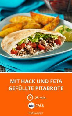 Mit Hack und Feta gefüllte Pitabrote - smarter - Kalorien: 276.8 kcal - Zeit: 25 Min.   eatsmarter.de