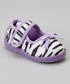 Take a look at this Chatties Zebra & Lilac Animal Mary Jane Slipper on zulily today!