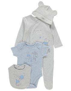 Bodysuit /& Jumpsuit /& Bandana Bib /& Hat Set for Baby Boys Winnie The Pooh Disney White//Beige