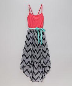 c9cc9383a8 Look at this  zulilyfind! Zunie   Pinky Black   Coral Chevron Hi-Low Dress  - Girls by Zunie   Pinky  zulilyfinds