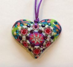 Billie Beads Millefiore mediumlarge Heart Necklace by BillieBeads
