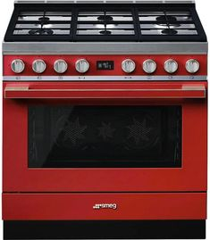 Smeg 36 Inch Pro-Style Gas Range with cu., Triple Convection, 5 Sealed Burners, Continuous Grates and 4 Cooking Modes: Red