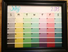 DIY picture frame/paint swatch calendar