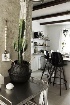 stor kaktus, blomsterlandet, svart korg, afroart, rice basket, riskorg, serveringsvagn, barstol, barstolar, köksö, eames, look a like, döden lampa, döden lampor, vitt kök, svart och vitt, vitt golv, parkett, köket, kökets, industristil, industriellt kök,