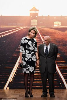Queen Mathilde heard how MrGronowski escaped Auschwitz by jumping from a cattle train when it was stormed by the Belgian resistance
