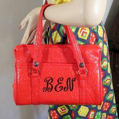 Red Monogram Bag BEN 60s Emb. Crinkle Patent by modernmatters, $55.00