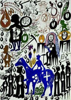 L'art brut souffle sur la Halle Saint-Pierre - Libération Outsider Art, Halle Saint Pierre, Illustrations, Illustration Art, Cavalier Bleu, Art Visionnaire, Paintings Famous, Art Paintings, Vision Art