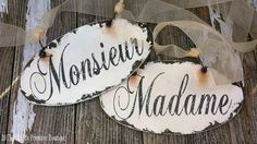 MONSIEUR and MADAME Chair Signs | Wedding Signs | Paris Wedding | Romantic Wedding Decor | Photo Props | Set of 2 | Shabby Chic Signs