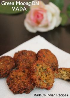 Vada is a traditional South Indian fritter made using different dals (lentils). Today i have used three different dals', but the star ingredient is the nutritious Green Moong dal. Green Moong dal is combined with green chilly, cumin, onion, coconut and co Street Food India, Indian Street Food, South Indian Food, India Food, Tasty Vegetarian Recipes, Veg Recipes, Indian Food Recipes, Cooking Recipes, Healthy Recipes