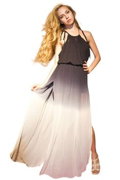 Maxi dress with tie straps and side slits. Be drop dead gorgeous in this dress that fades from black to white.