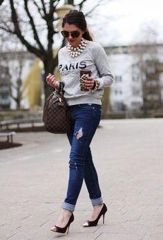 Love how the sweatshirt is chic