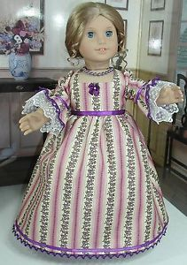 Purple/Ivory Dress fits 18 inch doll American Girl such as Felicity Elizabeth