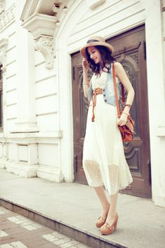 Cheap Refreshing Scoop Neck High Waist Sleeveless Voile White Women's Dress (WHITE,L), Maxi Dresses - Rosewholesale.com