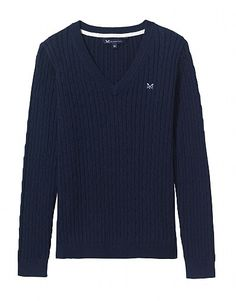 Lightweight knitwear is essential for spring. Layer up with supersoft cardigans, crew necks, cable knits and v neck jumpers for women. Crew Clothing, Clothing Company, Jumper, Men Sweater, Cable Knit, Cashmere, Women Wear, Feminine, V Neck