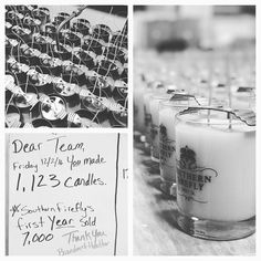 As I left the shop tonight I was amazed at the hard work and dedication of our Southern Firefly team.  We had 4 crew produce over 1000 candles in 1 day.  While 2 other @han_08 and @clairemdrake set up for @cityfarmhouse.  I am so grateful for this group and how much they love this company.  #thehustleisreal #southernfirefly #southernfireflycandle #family #thankyou