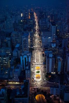 Avenida Paulista, the main thoroughfare in the city, brightly lighted at night. São Paulo, Brazil