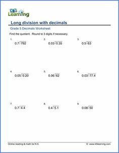 grade 5 decimals worksheet dividing decimals by whole numbers 1 9 with no multiplication. Black Bedroom Furniture Sets. Home Design Ideas