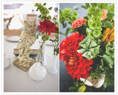 red and green florals, animal figurines