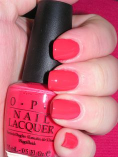 OPI My Chihuahua Bites Have this on in gel mani form now, it's like just enough orange to not be obnoxious pink. Memo to self: buy this color
