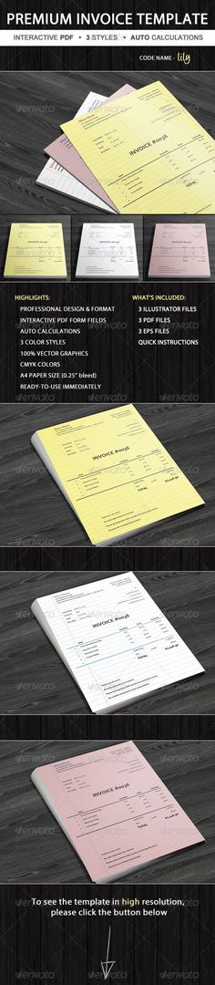 Invoice #GraphicRiver Invoice Lily is professional invoice template by Invoicebus designed in 3 color variants with unique retro design and subtle layout. Lily's structure is generic, so you may use it for various business types or services. The PDF template implements interactive form fields that allow you to enter custom data such as your company name, address, line items, and hourly rates directly to the PDF itself. Furthermore, all calculations are done automatically so you don't need to…