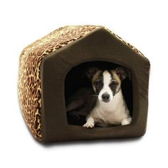 Best Friends by Sheri 2 in 1 Pet House-Sofa Pet Bed, 13 by 12 by 13-Inch, Small, Leopard Brown
