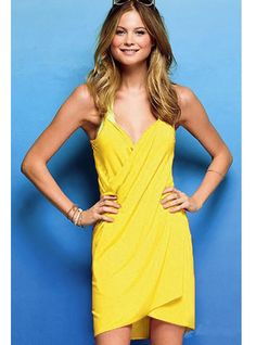 Yellow Open Back Cover-up Dress