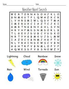 FREE! Weather Word Search Puzzle!