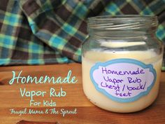 Homemade Vapor Rub for kids. This all-natural vapor rub is great for kids 2 years and older. It contains essential oils that not only help coughs and congestion, but are antimicrobials to help kill the bug!